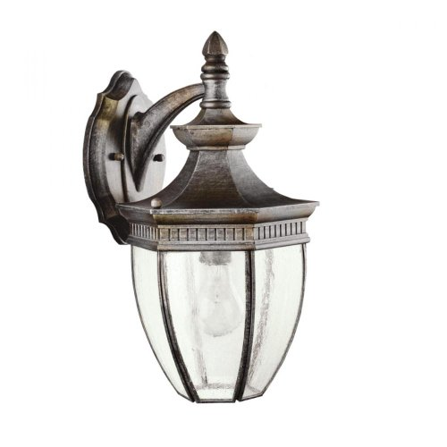 Kichler Lighting 9369TZ Warrington 1-Light Exterior Wall Mount, Tannery Bronze Finish with Clear Seedy Glass