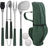 POLIGO 7pcs Golf-Club Style BBQ Grill Tool Set with Rubber...