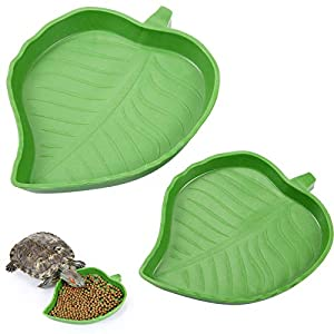 2 Pieces Leaf Reptile Food Water Bowl Plate Dish for Tortoise Corn Snake Crawl Pet Drinking and Eating, 2 Sizes