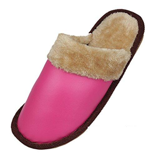 Home Coppie Pantofole Calde Impermeabili Antiscivolo Pantofole In Pelle Di Cotone (rosa Medio, Rosso Scuro)