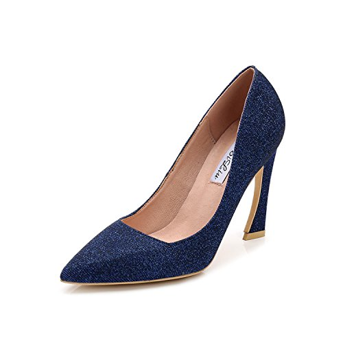con le alti ZHANGJIA tacchi 9 scarpe tacco e fata scarpe 40 centimetri blu alta coreano T5q5Z