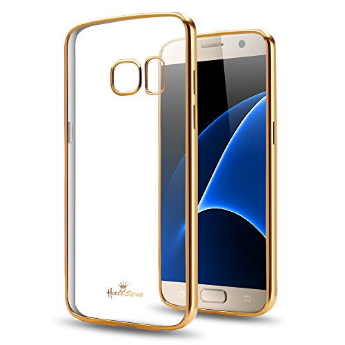 Samsung Galaxy S7 Case,Hallsen [Electroplating TPU] Ultra Slim Anti-Scratch Premium Clear Crystal Back Cover Soft Flexible TPU Case Cover for Samsung Galaxy S7 - Gold