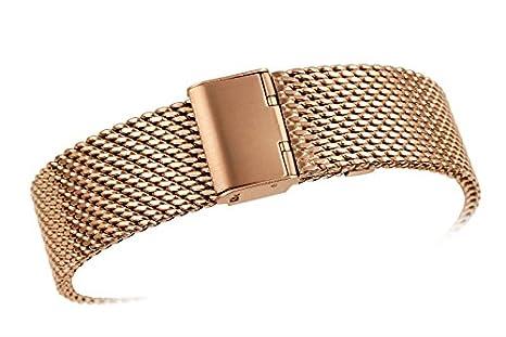 18 mm de alta gama clásica rosa correas de reloj Milanese malla metálica de oro sólido para los relojes de lujo bucle de cota de malla de los hombres de las ...