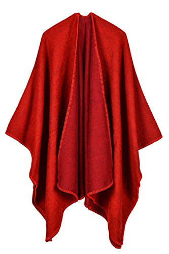 Pink Queen Women Oversized Cashmere Knitted Poncho Cape Cardigan Coat Shawl Wrap (Red-728)