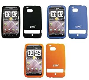 EMPIRE HTC Thunderbolt 6400 3 Pack of Silicone Skin Case Covers (Black, Blue, Orange)