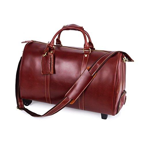 Bomtada mens large genuine leather travel wheeled duffle luggage carry on rolling upright duffel for Leather luggage wheeled duffel