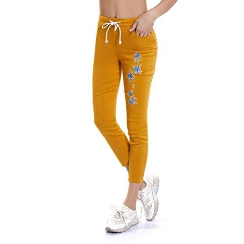 Jeans Bordado Mezclilla Señora Cintura Rotos Mujer Leggings De Bordados Alta Femeninos Skinny Logobeing Amarillo Pantalones wBq0XApAx