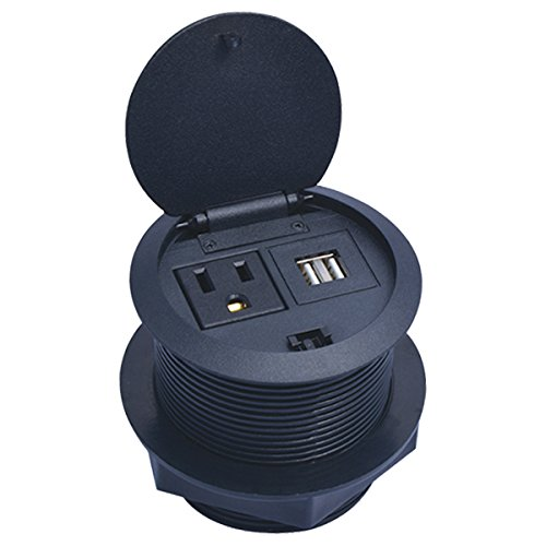 (Outwater Industries UL Listed 1 Outlet, 2 USB Port Electrical Grommet Power Station/Data Hub PDG-NL-120-BK with a 10 ft. Power Cord with Flip Top Lid )