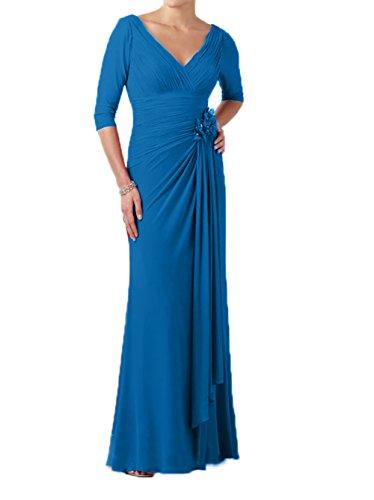 Brautmutterkleider Abendkleider Blau Langarm Elegant mit Damen Partykleider Chiffon Lang Charmant zIYP8q1