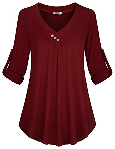 Hibelle Business Casual Tops for Women, Classic V Neck Knit Flowy Tunic Designer Roll Up Long Sleeve A Line Pleats Front High Low Hem Work Going Out Shirts and Blouses Wine Red Large
