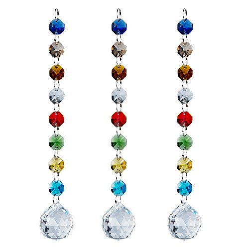 - Chandelier Suncatchers-Sparkly Chakra Crystal Balls For Home,Office,Garden Decoration-Octagonal,Teardrop & Cone Shaped Prisms-Set Of 3 Beautiful Pendants For Car,Plant,Window Décor,3Pcs