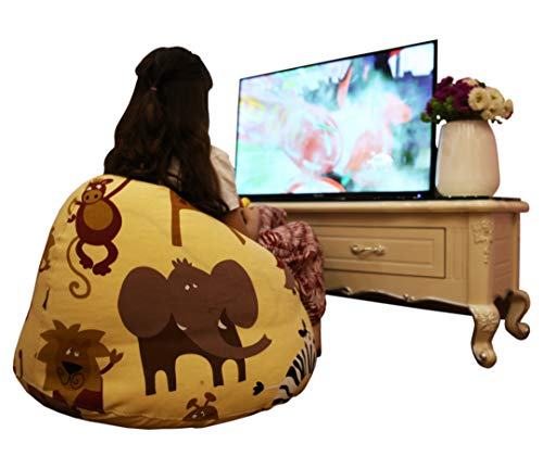 BEDEW Extra Large Stuffed Animal Storage Bean Bag Chair for Kids, Pouf Ottoman for Toys + Free Intelligence Pyramid Rubik's Cube. Safari Animals Pattern in Biege