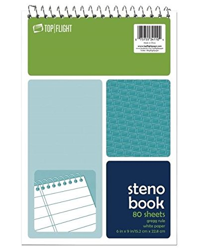 Top Flight Steno Book, Top Wirebound, 6 x 9 Inches, Gregg Ruling, White Paper, 80 Sheets (4600945) 80 CT (Pack of 12)