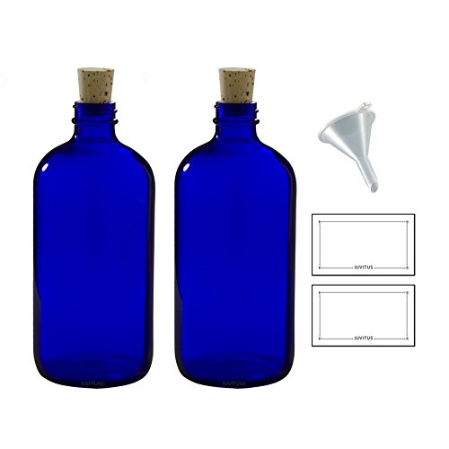 16 oz Cobalt Blue Glass Boston Round Bottle with Cork Stopper Closure (2 Pack) + Funnel and ()