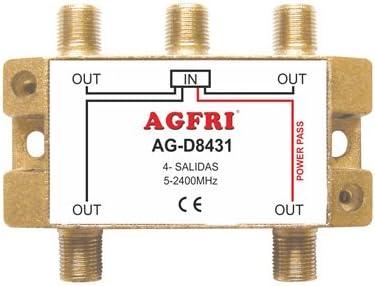 AGFRI AG-D8431 - Derivador de 1 Entrada y 4 Salidas, Color ...