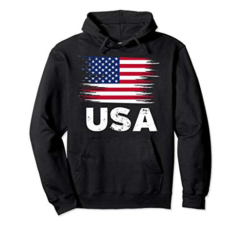 USA - American Flag Hoodie | Sports Soccer Football ()