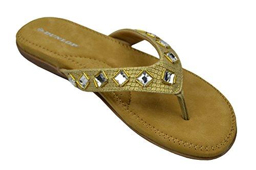 Dunlop Zehentrenner Zehensteg ohne Bügel Flach Gepolstert Gold