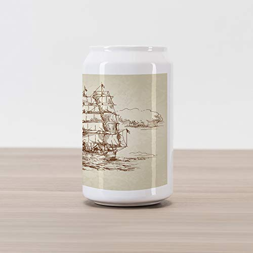 Ambesonne Vintage Boat Cola Can Shape Piggy Bank, Historical Weathered Sketch Sailing Ship Antique Naval Voyage Artwork, Ceramic Cola Shaped Coin Box Money Bank for Cash Saving, Beige Chocolate (Naval Antiques)