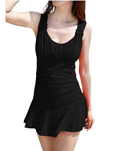 Wincolor - Traje de una pieza - Floral - Sin mangas - para mujer negro