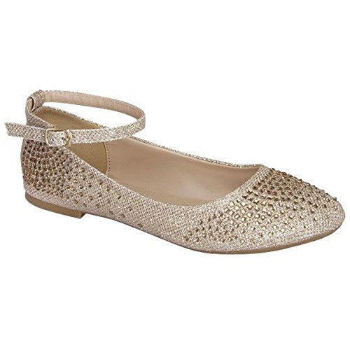 Fashion-shoes Womens Glitter Shiny Ballerina Ballet Slip On Ankle Strap Flats Champagne WaenyOZjA
