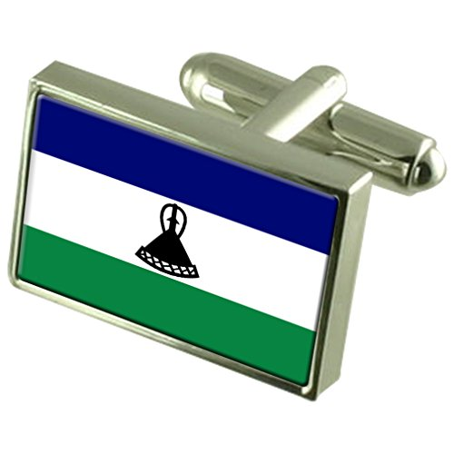Lesotho Sterling Silver Flag Cufflinks in Engraved Personalised Box by Select Gifts