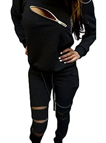 Q&Y Women's Asymmetric Zip Sweatsuits Tracksuits Sports Outfits Set Black XL - 08 Zip Hoodie Sweatshirt