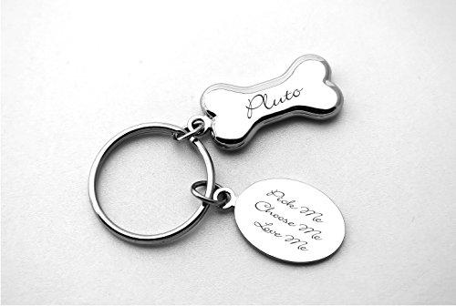 (Personalized Silver Doggy Bone Keychain Custom Engraved Free)