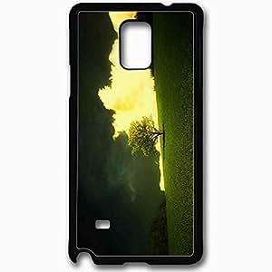 Unique Design Fashion Protective Back Cover For Samsung Galaxy Note 4 Case Nature Green Wallpaper Nature Black