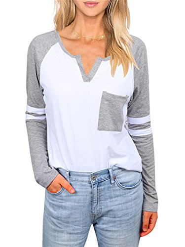 Baseball T-shirt Designs (Uideazone Women's Casual Color Block Long Sleeve Patchwork Striped T Shirt Blouse)