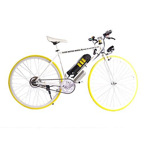 ELECTRIC Fixie Bike 350W 33MPH Alien Motor Wheels TM (WHITE/YELLOW/WHITE/BLACK)