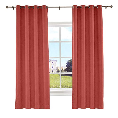(Macochico Grommet Polyester Cotton Textured Curtains with Blackout Lining Thermal Insulated Room Darkening Drapes for Bedroom Window Room Divider Privacy Protection,Carnelian 72 W x 96 L (1)