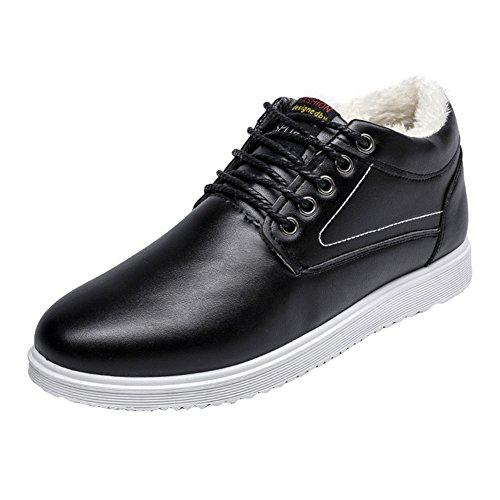 Hibote Hommes PU Cuir Sneaker Hiver Chaussures Sport Trainers Lace Up Snow Bottes Chaussures Plates Chaussures DéContractã©ES avec Doublure Chaude