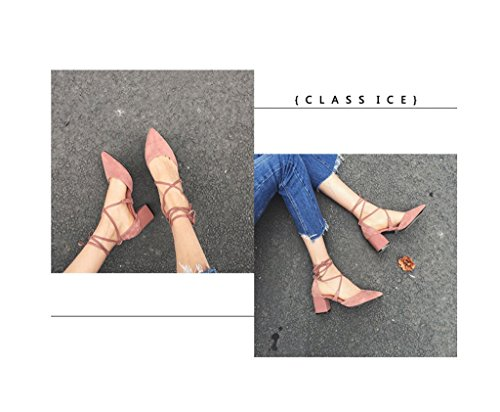 rosa altos en Tacones Tamaño punta Zapatos sandalias elegantes Color mujer 40 tobillo de para PqgdwUpxng