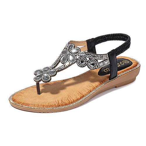 Sandals Ladies Rhinestones - WESIDOM Flat Sandals for Women Ladies,Summer Rhinestone T Strap Elastic Strap Beach Shoes