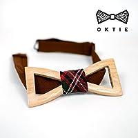 OKTIE Children Handmade Wooden Bow Tie For Boy Blue Wood Gift Box