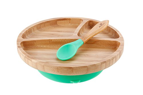 "Avanchy Baby Toddler Feeding Plate Bamboo - Stay Put Suction Divided Plates Plus Baby Spoon, Green 9"" x 7"""