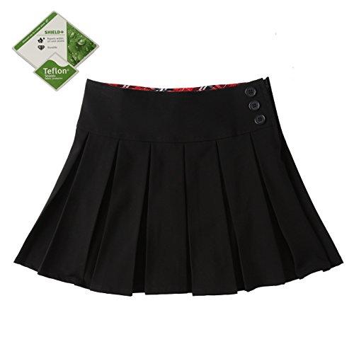 Bienzoe Girl's Stretchy Pleated Durable Teflon Adjustable Waist School Uniforms Skirt