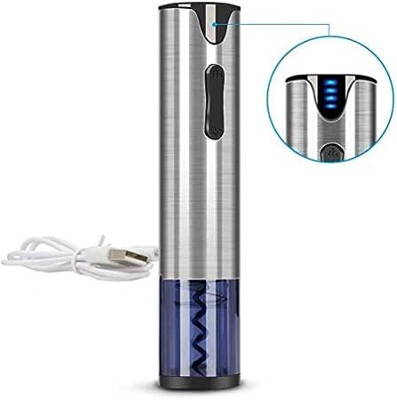Sacacorchos eléctrico abridor de vino recargable Sacacorchos automático abridor de botellas de vino con cable de carga USB de acero inoxidable