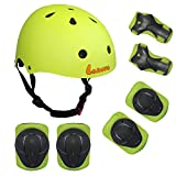 Lanova Kids Adjustable Sports Protective Gear Set Safety Pad Safeguard (Helmet Knee Elbow Wrist) Roller Bicycle BMX Bike Skateboard and Other Extreme Sports Activities (Green)