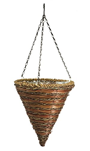 Panacea 88636 Cone Hanging Basket, Rope and Fern, 12-Inch