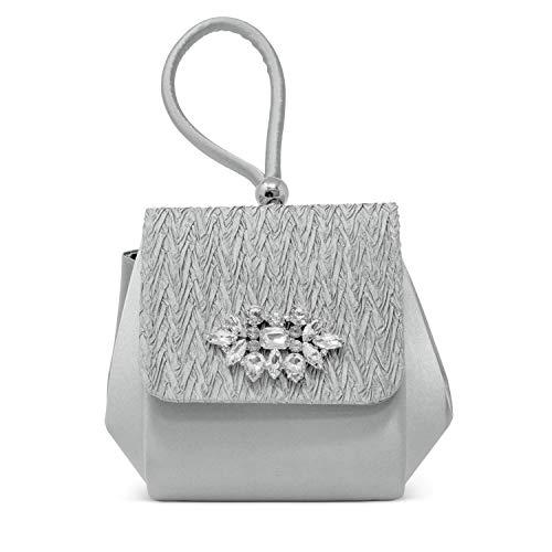 Jessica McClintock Honey Top Handle Evening Bag, Silver