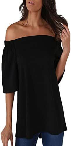 ZANZEA Women's One Off Shoulder Strapless 3/4 Sleeve Loose Elegant Tops Blouse