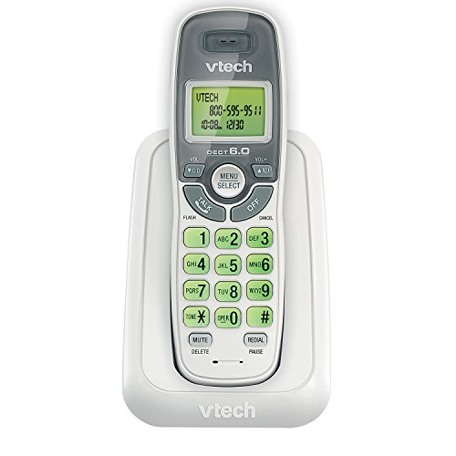 (VTech CS6114 DECT 6.0 Cordless Phone with Caller ID/Call Waiting, White/Grey with 1 Handset)