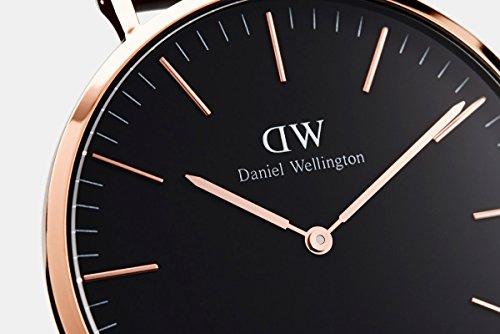 Daniel Wellington Classic Sheffield Orologio Uomo, 40mm, in Pelle, Nero/Oro Rosato 4