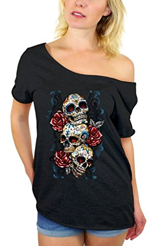 Awkwardstyles Three Sugar Skulls with Roses Off Shoulder Tops T-Shirt + Bookmark 2XL Black