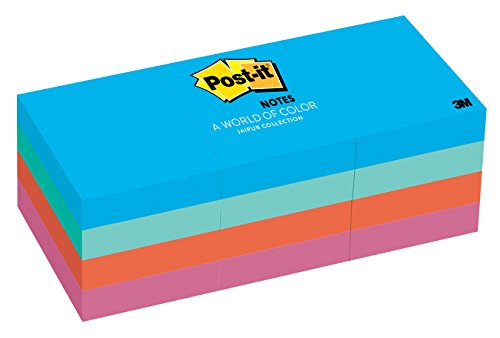 Sheet Adhesive Note Cube - Post-it Notes, 1.5 in x 2 in, Jaipur Collection, 12 Pads/Pack (653-AU)