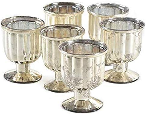 Serene Spaces Living Set of 24 Antiqued Silver Mercury Glass Finish Pedestal Votive Candle Holder