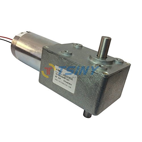 TSINY High Torque DC 12 Volt Double Right Angle Out Shaft Turbo Geared Reducer Box Motor 10rpm Speed