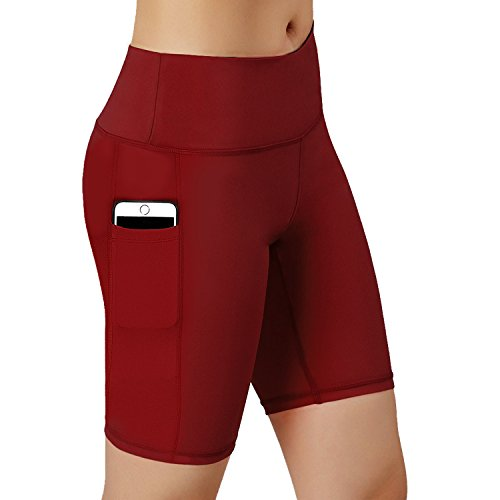 HuaTu Women Performance Compression Shorts with Side Pocket (Wine Red, X-Large Waist ()