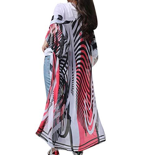 F_topbu Women's Print Kimono Sheer Fashion Womens Zebra Pattern Printing Cardigan Long Smock Blouse Tops